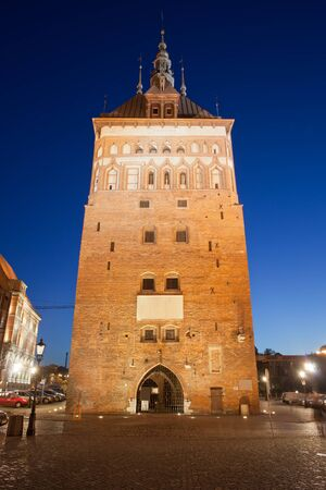 sights: Prison Tower and Torture Chamber at night in Gdansk, Poland, city landmark