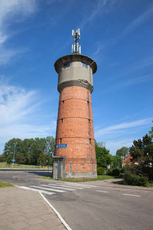 water town: Wladyslawowo town in Poland, old railway Water Tower - tourist information office, Kashubia, Pomerania region