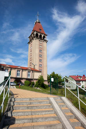 tower house: Observation Tower of Fisherman House, viewpoint in Wladyslawowo, Pomerania, Poland Editorial