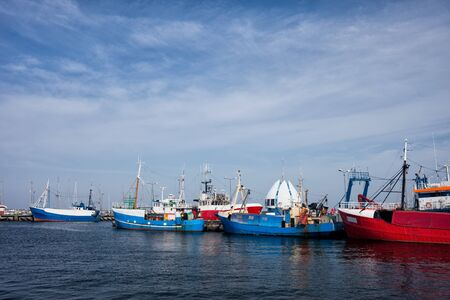 Poland, Pomerania, Hel Town, port with fishing boats, trawlers at Baltic Sea