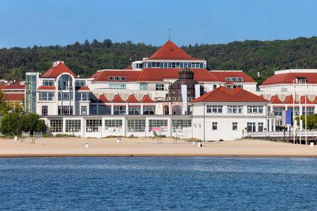 sanitarium: Beach in Sopot, resort town in Poland at the Baltic Sea Editorial