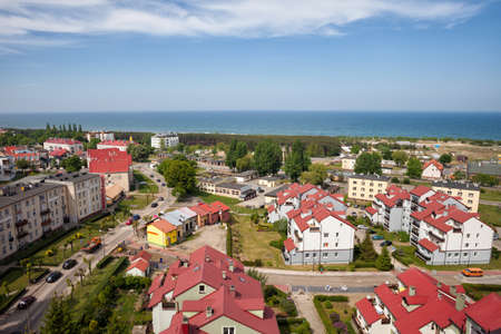 sea of houses: Wladyslawowo resort town at Baltic Sea in Poland, Europe, apartment houses, blocks and condos from above