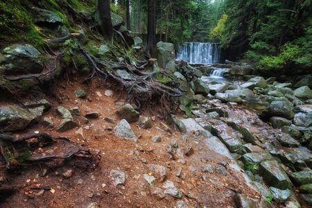 sudetes: Mountain river with waterfall in Karkonosze National Park (Polish: Karkonoski Park Narodowy), Sudetes Mountains, Karpacz, Poland