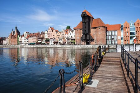 gdansk: Picturesque city of Gdansk i Poland, Motlawa River quay, Old Town skyline with The Crane