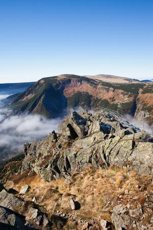 krkonose: Sniezka Mountain slope, Karkonosze Mountains landscape, Sudetes, Poland and Czech Republic border.