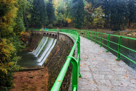 Dam and reservoir on Lomnica river in Karpacz, Poland