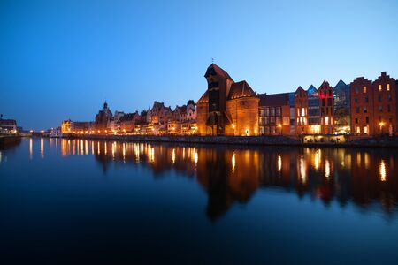 gdansk: Gdansk city skyline in the evening, view from Motlawa River, Poland
