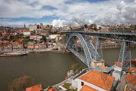 dom: City of Porto cityscape in Portugal, Dom Luiz I Bridge on Douro River