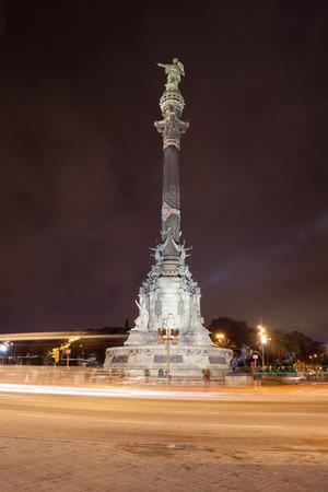colom: Spain, Barcelona, monument to Christopher Columbus at night, city landmark
