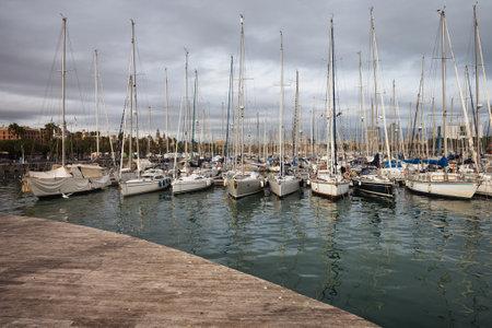 Spain, Barcelona, sailboats at Darsena Nacional Marina in Port Vell