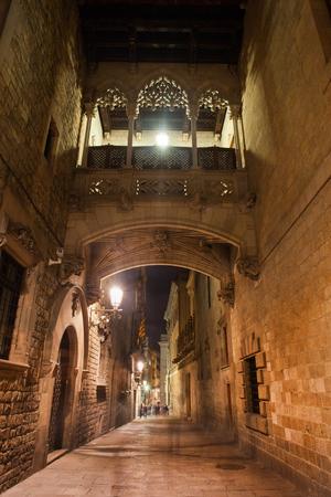 carrer: Spain, Barcelona, Gothic Quarter - Barri Gotic, bridge over Carrer del Bisbe street at night