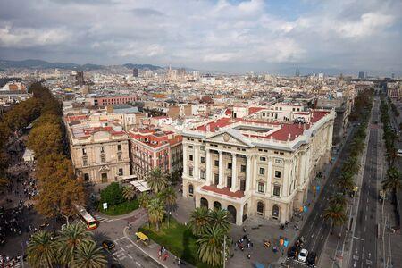 colom: Barcelona cityscape in Catalonia, Spain, view above the city centre, Passeig de Colom avenue (right), La Rambla street (left). Stock Photo