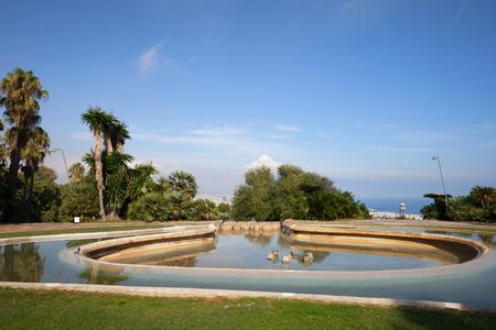 montjuic: Pond at Montjuic Hill garden - Jardins del Mirador, Catalonia, Spain