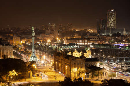 Barcelona skyline and cityscape by night, city centre Stock Photo