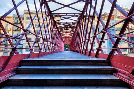 Eiffel Bridge in city of Girona, in Catalonia, Spain Stock Photo