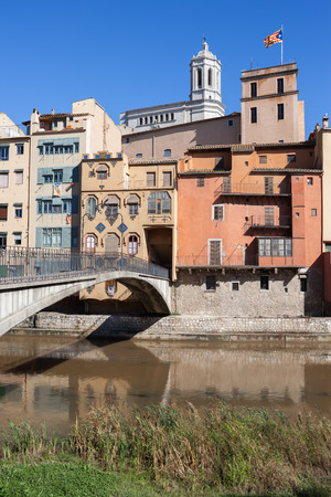 gomez: Houses at River Onyar in Old Quarter of Girona in Catalonia, Spain Stock Photo