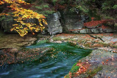 Poland, Sudetes, Karkonosze Mountains, autumn cliffside creek Stock Photo