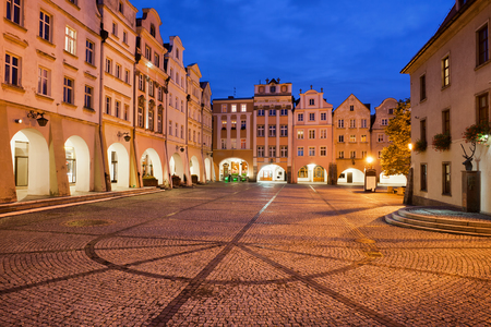 gabled house: City of Jelenia Gora at night in Poland, historic houses at Old Town Market Square