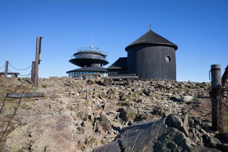 Poland, Karkonosze (Krkonose) Mountains, Sniezka Mountain peak, St. Lawrence Chapel and shelter with meteorological observatory