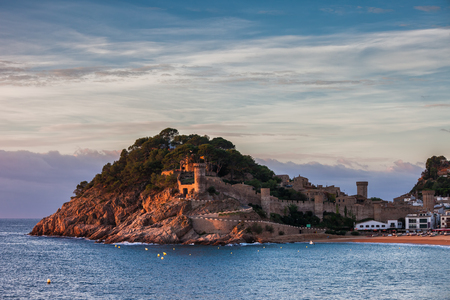 Tossa de Mar town at sunset on Costa Brava, Mediterranean Sea coast in Catalonia, Spain