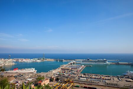 Port of Barcelona at Mediterranean Sea, view from above, Catalonia, Spain, Europe