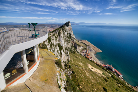 Rock of Gibraltar at Mediterranean Sea, viewpoint observation deck on the left
