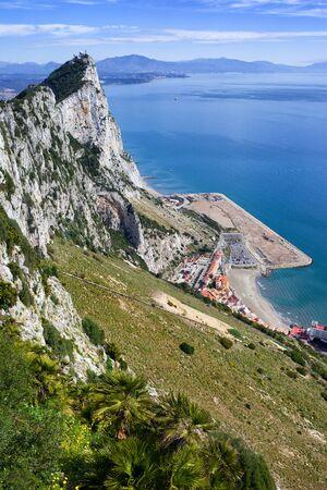 Rock of Gibraltar slope at Mediterranean Sea on Iberian Peninsula
