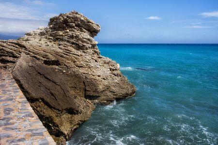 'costa del sol': Rock at Mediterranean Sea in Nerja, Costa del Sol, Spain