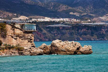 nerja: Balcon de Europa - Balcony of Europe in Nerja town on Costa del Sol, Andalucia, Spain Stock Photo