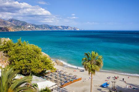 nerja: Nerja, resort town on Costa del Sol in Andalucia, Spain, Calahonda beach at Mediterranean Sea