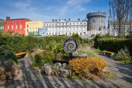 Dublin Castle from Dubh Linn Gardens in Dublin, Ireland