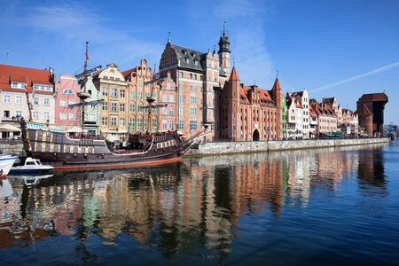 City of Gdansk in Poland, Old Town skyline, river view.