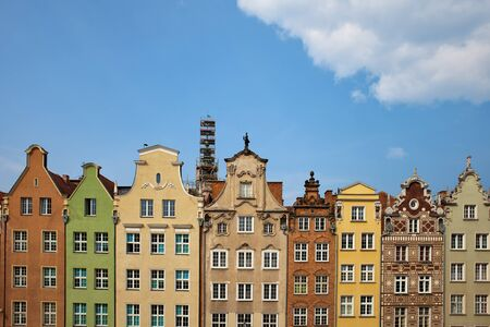 Gabled historic houses at Dlugi targ (Long Market) in Old Town of Gdansk, Poland Stock Photo