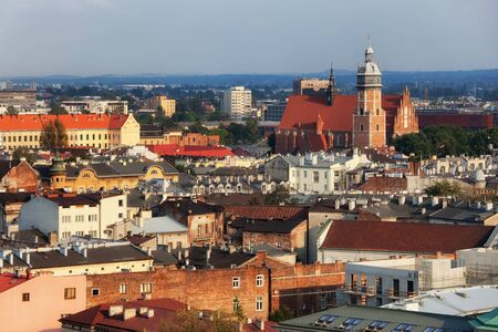 jewish home: City of Krakow cityscape in Poland, Kazimierz historical district, Jewish Quarter, view from above.