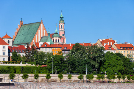 Poland, Warsaw, Old Town skyline with houses and churches, historic city center
