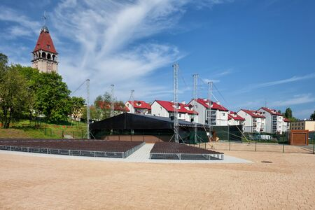 openair: Resort coastal town of Wladyslawowo in Poland, apartment houses and square with summer open-air concert municipal amphitheatre