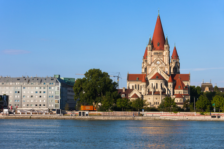 Austria, city of Vienna, Saint Francis of Assisi Church from 1910 at Danube River.