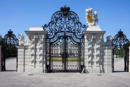 Austria, Vienna, gate to Belvedere, wrought iron in ornamental Baroque style. Publikacyjne