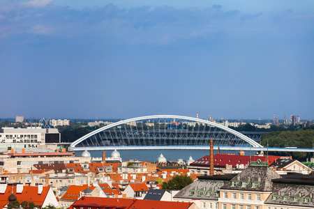 Bratislava, capital city skyline, cityscape with Apollo Bridge, Slovakia