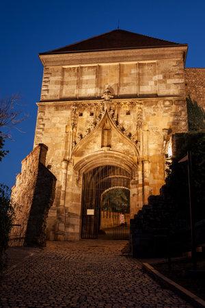 Slovakia, Bratislava, Sigismund Gate to Bratislava Castle lighted at night, 15th century fortification