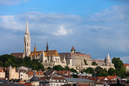 Hungary, Budapest, Buda side of the city with Matthias Church and Fishermans Bastion