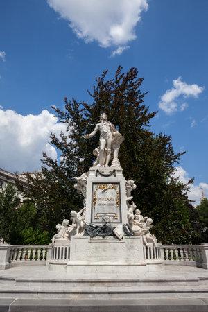 Mozart Denkmal monument from 1896 n Vienna city, Austria