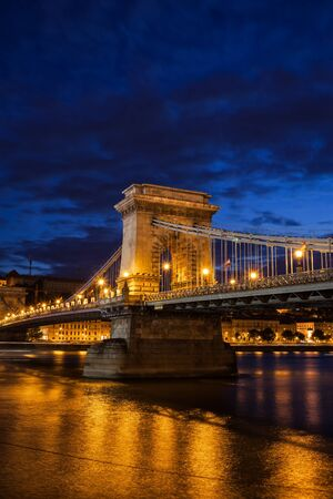 Hungary, Budapest, Chain Bridge (Szechenyi lanchid) at night on Danube river in capital city Editorial