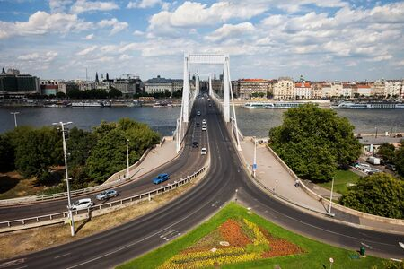 Budapest city skyline with Elisabeth Bridge over Danube river in Hungary
