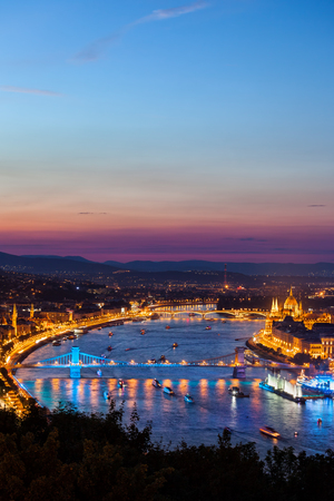 Budapest city at blue hour in Hungary, view from above, Danube River cityscape.