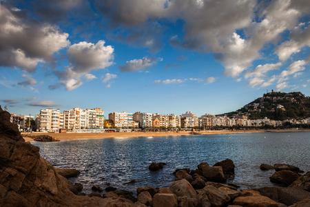 Blanes resort town on Costa Brava in Catalonia, Spain, bay of Mediterranean Sea and town skyline. Stock Photo
