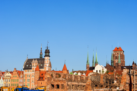 City of  of Gdansk Old Town skyline in Poland with building ruins from World War II