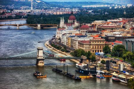 City of Budapest cityscape along Danube river in Hungary, urban landscape of the city center.