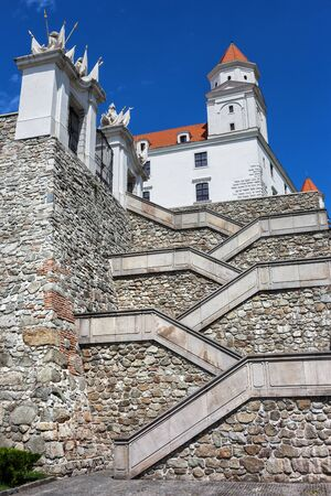 Crisscross stairs to the Bratislava Castle in Slovakia