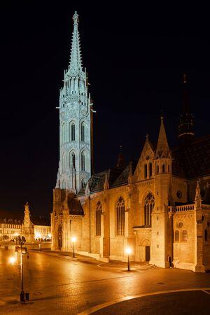 Matthias Church (Matyas Templom) in Budapest at night, late Gothic style historic city landmark.